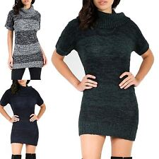 Womens Ladies Marl Knit Polo High Cowl Neck Bodycon Fit Tunic Jumper Mini Dress