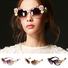 Womens Ladies Flower 3D Floral Hippy Festival Summer Butterfly Sunglasses
