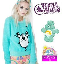 Iron Fist Care Bears Wish Bear Aqua Blue Plush Sweater XS-2XL/UK6-UK16