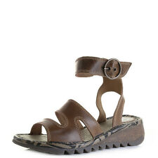 Womens Fly London Tily Camel Leather Wedge Heel Ankle Strap Sandals UK Size