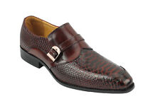 Mens Real Leather Snakeskin Print Tonal Brown Evening Dress Monk Strap Shoes