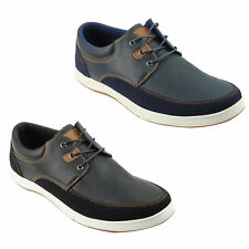 Mens Leather Look Smart Casual Sneakers Lace up Shoes Black Navy Size 44 45 46
