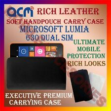 ACM-RICH LEATHER SOFT CASE for MICROSOFT LUMIA 630 DUAL SIM HANDPOUCH COVER NEW