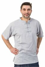 Chemise col mao manches courtes et poches gris chine clair - Neuf