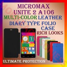 ACM-LEATHER DIARY FOLIO FLIP CASE for MICROMAX UNITE 2 A106 FRONT & BACK COVER