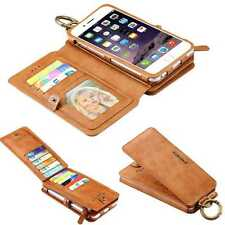 Genuine Leather Magnetic Wallet Card Flip Stand Case Cover For iPhone