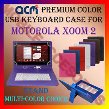 "ACM-USB COLOR KEYBOARD 10"" CASE for MOTOROLA XOOM 2 TABLET LEATHER COVER STAND"
