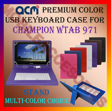 "ACM-USB COLOR KEYBOARD 10"" CASE for CHAMPION WTAB 971 TAB LEATHER COVER STAND"
