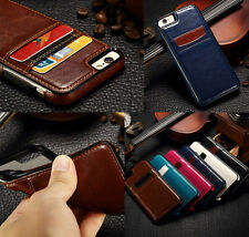 Luxury Leather Slim Card Holder Back Case Cover Wallet For iPhone 5 SE