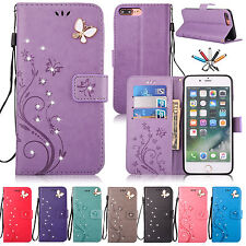 Magnetic Flip Leather Stand Card Diamond Wallet Case Cover For iPhone