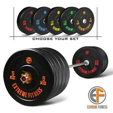 """EXTREME FITNESS® Hi-Temp RUBBER BUMPER WEIGHT PLATES COLOURED GYM CROSSFIT 2"""""""