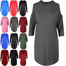 Ladies Womens 3/4 Sleeve Cold Shoulder Curved Hem Hooded Baggy Tunic Mini Dress