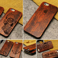 100% NATURALE INTAGLIATO IN LEGNO CUSTODIA COVER TELEFONO PER APPLE IPHONE 5 5S