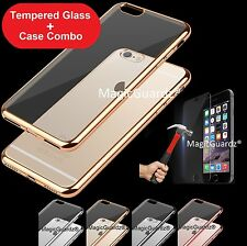 For iPhone 7 Plus Case Silicone Clear Cover Bumper Rubber Case + Tempe