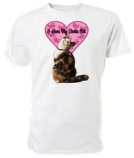 I Love My Tortie Cat T shirt, short sleeve round neck, Choice of size & colours,