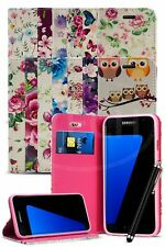 For Samsung Galaxy S7 Edge Duos Dual SIM - Printed Flower Magnetic Case & Pen