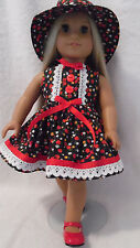 Doll Clothes fits 18 inch American Girl etc 3pc Lot DRESS/ SHOES & HAT