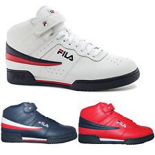 Mens Fila F13 F-13 Classic Mid High Top Basketball Shoes Sneakers NAVY RED