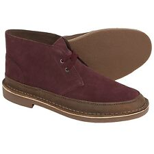 New Clarks Bushacre Rand Chukka Boots Leather Suede Burgundy MSRP$100