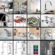 LED Spray Spout Pullout Waterfall Glass Sink Tap Faucet Thermostatic Shower Sets