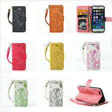 Magnetic Diamond Bling Leather Flip Stand Wallet Case Cover For iPhone