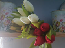 NEW! VERY REALISTIC BUNCH OF TULIPS RED WHITE TELLOW FLOWERS BUDS WEDDING