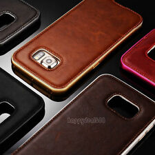 Luxury Leather Back Case Aluminum Metal Bumper Cover For Samsung Galax