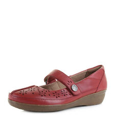 Womens Clarks Everlay Bai Red Flat Leather Mary Jane Shoes - D fit UK Size