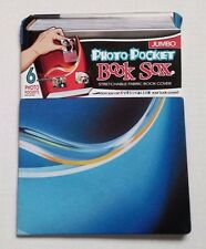 Book Sox Photo Pocket Stretchable Fabric Book Cover Blue Jumbo NEW