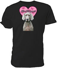 I Love Weimaraners T shirt , short sleeve round neck, Choice of size & colours,