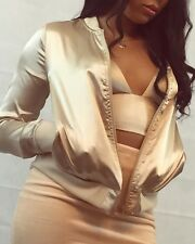 LUXURY ROSE GOLD NUDE SILK CHAMPAGNE BOMBER JACKET OYSTER BOMBER   10 12 14