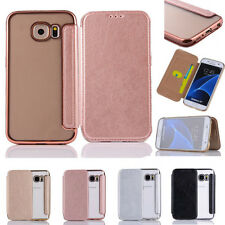 Luxury Leather Flip Slim Card Holder Cover+Clear TPU Case For iPhone S