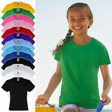Kinder Mädchen T-Shirt FRUIT OF THE LOOM Valueweight Tee Baumwolle 61-005-0 NEW