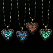 Hollow Out Heart Pendant Glow In Dark Long Necklace For Women Glowing  Necklace