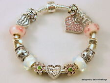 "AUTHENTIC PANDORA BRACELET WITH CHARMS ""CELEBRATE LIFE"" PINK, WHITE HINGED BOX"