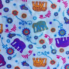 Printed poly cotton Elephant & Flowers BLUE 115cm sold by the metre DD