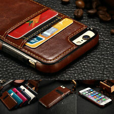 Luxury Ultra Slim Leather Wallet Card Back Case Cover For Apple iPhone