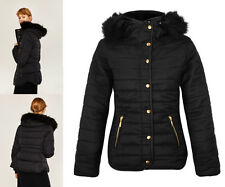 New Ladies Jacket Quilted Padded Puffer Fur Collar Bubble Womens Anorak Coat