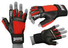 Cycling Gloves Leather Fingerless Half Finger Bike Bicycle Riding MTB Sports