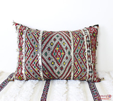 Moroccan Kilim Cushion Vintage Wool Sequins Cover or Stuffed 58 cm x 40 cm VC103