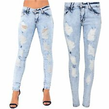 Womens Ladies Destroyed Denim Fade Ripped Stitched Distressed Trouser Pant Jeans