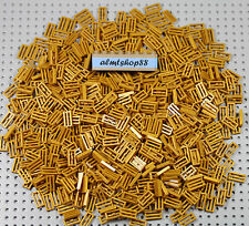 LEGO - 1x2 Pearl Gold Tiles w/ Grille - Flat Plate Modified 2412b City Bulk Lot