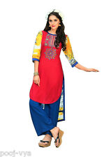 Embroidered Pure Cotton Long Straight Casual Wear Ready made Women Kurti Dress
