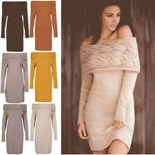 Women Ladies Ruffle Frill Off Shoulder Bardot Cable Chunky Knitted Bodycon Dress