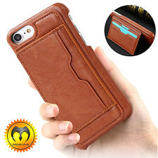 Luxury Leather Card Holder Wallet Slim Back Case Cover For Apple iPhon