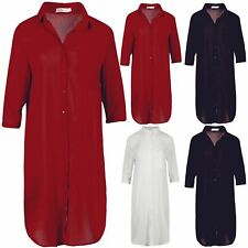 Womens Ladies Chiffon Collared 3/4 Sleeve Pocket Oversize Baggy Midi Shift Dress