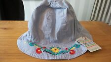 John Lewis Embroidered Flower 100% Cotton Bucket Hat 0-3, 3-6 Months New RRP £7