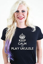 KEEP CALM AND PLAY UKULELE UNISEX DA UOMO E DONNA T-SHIRT MAGLIETTA