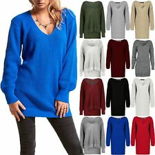 Womens Ladies V Plunge Oversized Chunky Knitted Long Sweater Jumper Dress Top