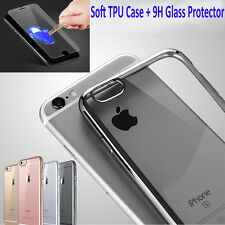 Shockproof Clear Soft Silicone TPU Case Cover for iPhone 7 /Plus+Glass